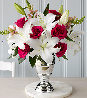 Martha Stewart Gracious Rose Medley with elegant silver vase.PNG