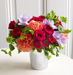 Martha Stewart Vibrant Bloom Bouquet in silver potter picture.PNG