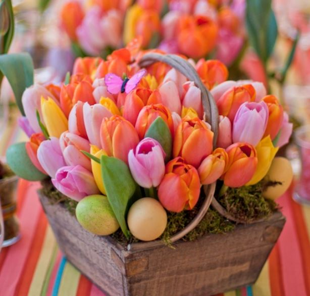 Beautiful tuplis Easter flowers arrangement with Easter eggs photos.JPG