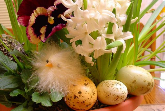 Easter center piece with Easter flowers and eggs.JPG