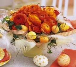 Easter flowers and eggs centerpiece.JPG