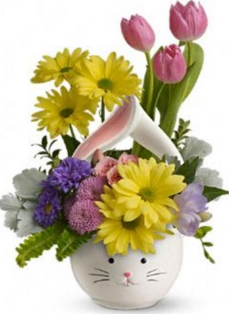 Easter flowers arrangement with bunny face withcute bunny ears.JPG