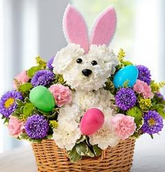 Easter flowers basket with flowers shaped like a bunny.JPG