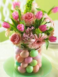 Easter flowers centerpiece with pink flowers and egg candies in vase.JPG