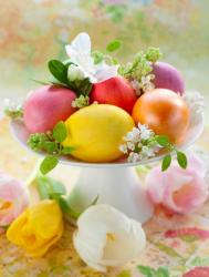 Easter flowers with colorful Easter eggs as center piece.JPG