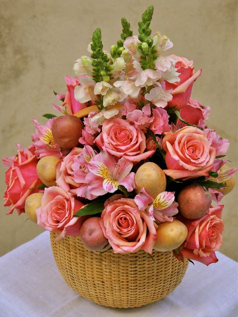 Unique Easter flowers arrange with beautiful flowers and potatoes.JPG