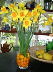 Yellow and orange easter flowers with fruits in vase.JPG