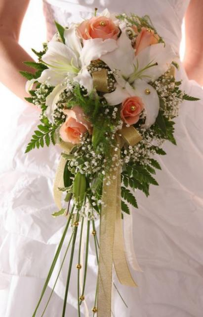 Large Wedding Bouquet With White Lily And Peach Color RosesJPG
