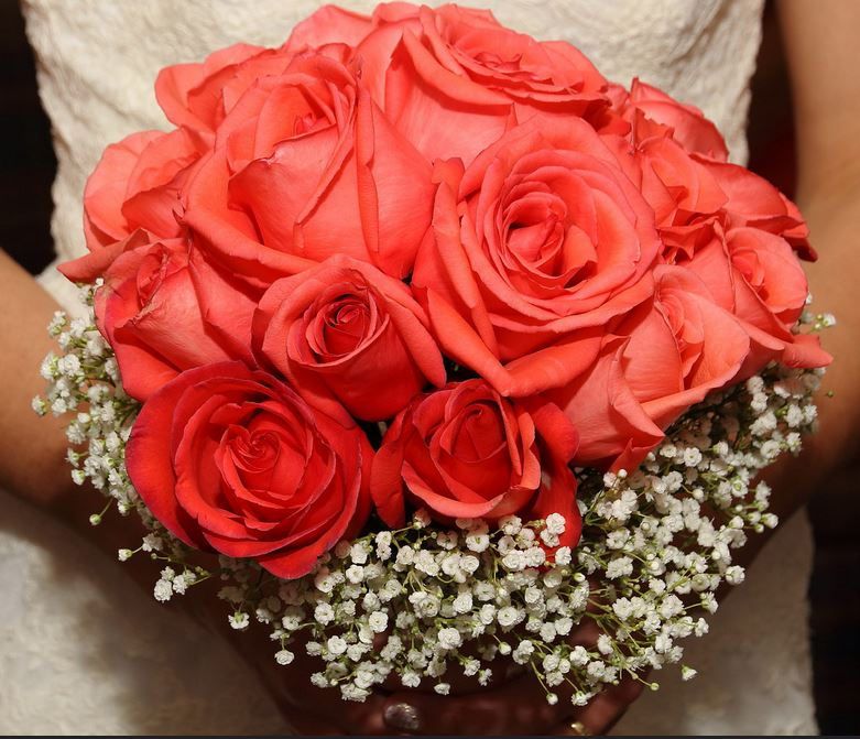 Orange Red Roses And White Small Flowers Wedding Bouquet