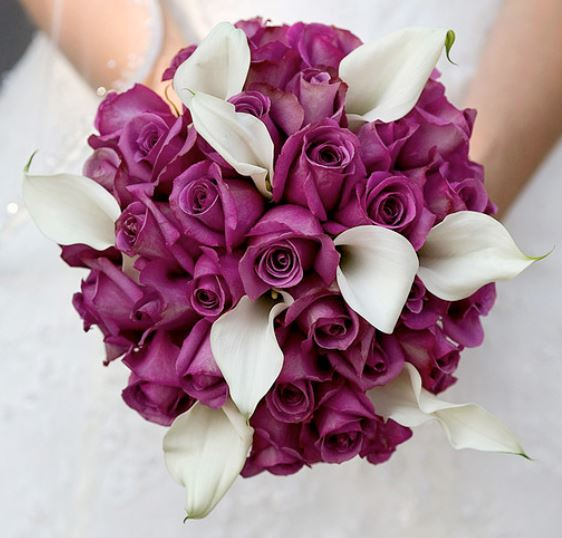 Wedding Flowers Roses And Lilies : Purple roses and white lilies bridal bouquet pictures g