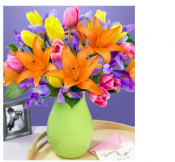 Colorful mother's day flowers idea with bright green vase.PNG