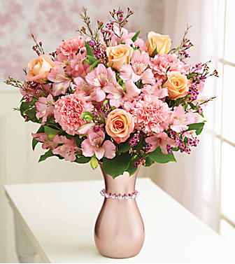Elegant mother's day flowers gift with full of pink flowers and pink vase with pink pearl.PNG