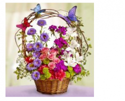 Heaven mother's day flowers basket with butterflies.PNG