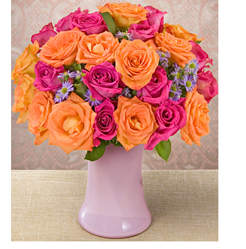 Mother's day with full of orange pink roses with purple small flowers.PNG