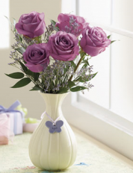 Purple roses mother's day flowers gift with cute vase in white.PNG
