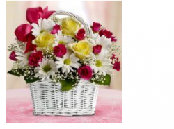 Mother's day gift idea with flowers in white square basket.PNG