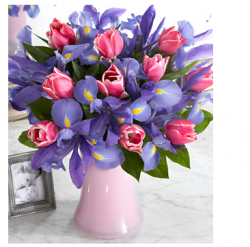 Pink tulips and purple flowers for your special day for your mother.PNG