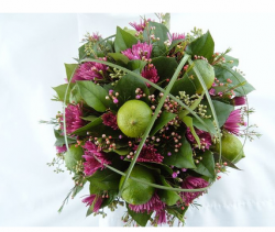 Natural wedding bouquet picture with lime and  dark pink flowers.PNG