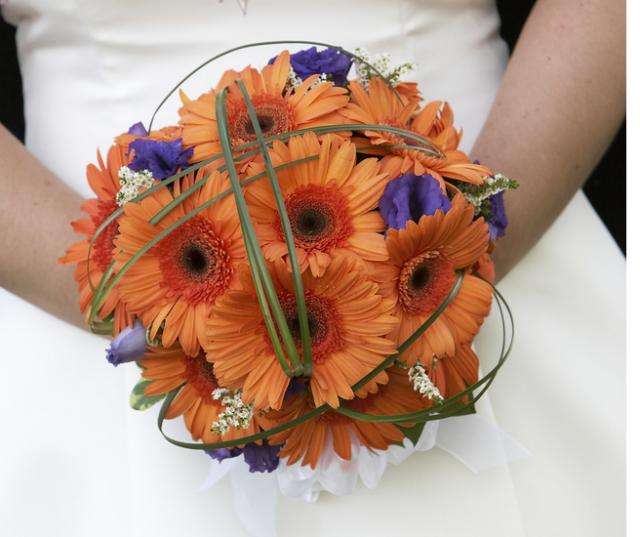 Photograph Of Orange Bridal Wedding Bouquet Of Flowers