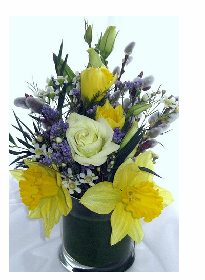 Yellow and purple wedding arrangement imageg mightylinksfo