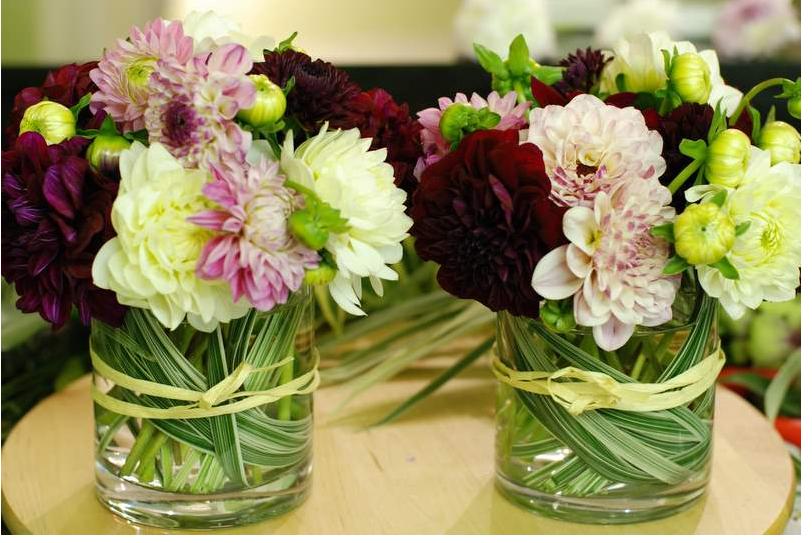 Modern small dahlia arrangements picture