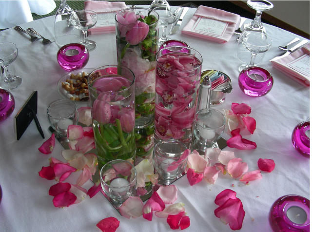 Pink Wedding Flower Arrangements with fower pedals.PNG