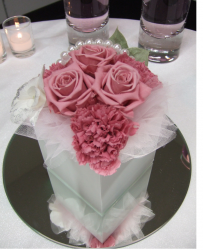 Silk flower wedding arrangement with mirror.PNG
