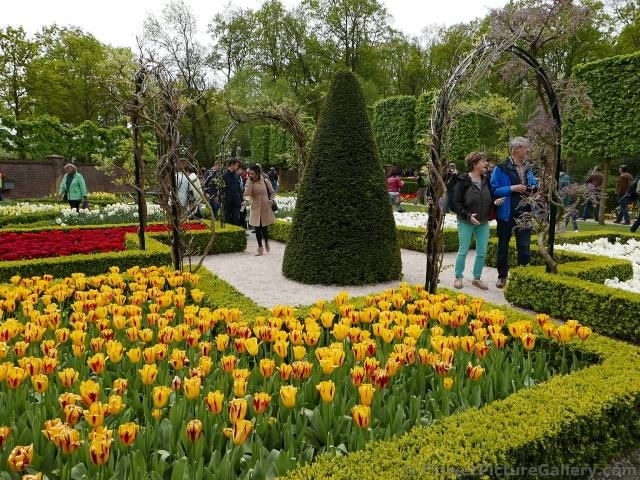Tourists Enjoying a Walled Garden of Keukenhof.jpg