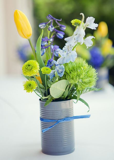 Summer flowers wedding centerpiece with colorful flowers.JPG