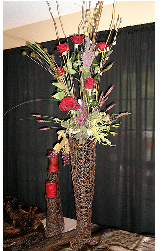 Very tall wedding centerpieces with red roses