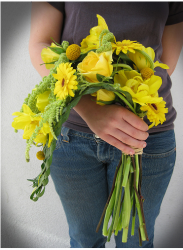 Wedding over arm bouquet with bright yellow flowers.PNG