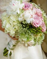 Beautiful wedding bouquet photos with pink roses white flowers and green flowers.JPG
