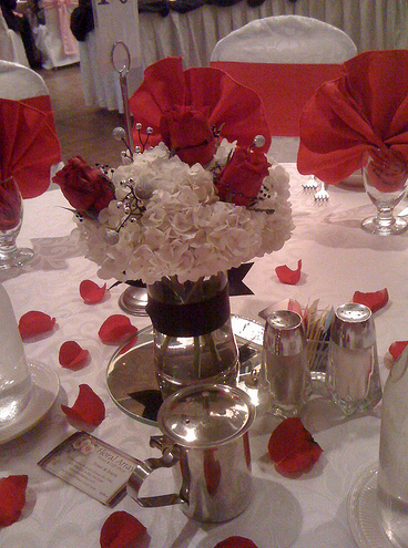 Wedding flower arrangement with red roses and white flowersg mightylinksfo
