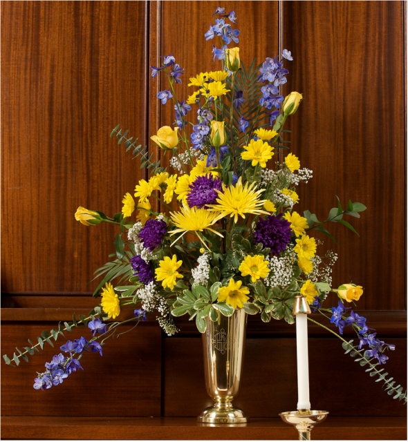 Yellow And White Flowers For Weddings: Wedding Flower Arrangement With White, Yellow And Purple