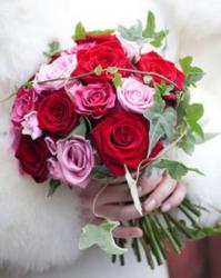 Bright colored roses wedding bouquet with roses in pink, hot pink and red  roses.JPG
