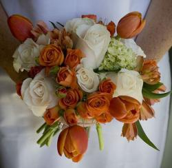 White roses and orange roses and tulips perfect for 2015 wedding bouquets.JPG