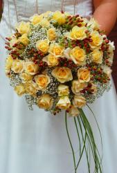 Yellow roses wedding flowers with red bubs.JPG