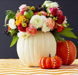 2015 Halloween decoration with fresh pumpkin and fresh flowers.JPG