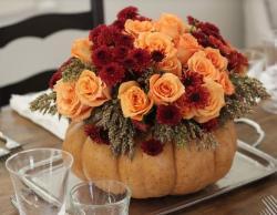 Beautiful pumpkin centerpiece perfect for Halloween party table decor ideas.JPG