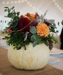 Halloween centerpiece with fresh flowers and fresh white pumpkin.JPG