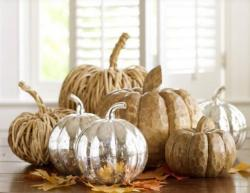 Modern pumpkin decoration ideas with silver pumpkins and wooden pumpkins.JPG