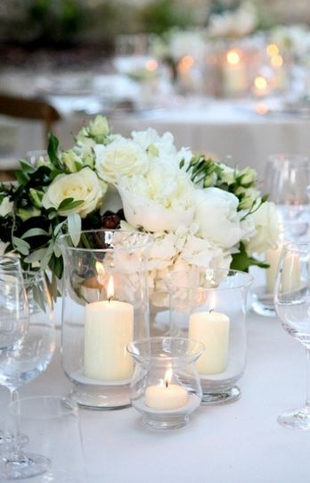 Beautiful elegant white wedding table decoration ideas picture.JPG