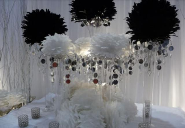 Black and white wedding reception table decoration ideas for Black and white reception tables