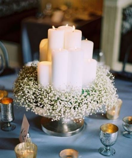 Candle Wedding Table Decoration Ideas With White Candles And Small Flowers Jpg