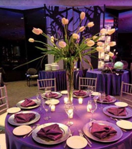 Simple Wedding Table Decoration With Long White Tulips In