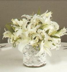 White wedding centerpiece with white large lilies.JPG
