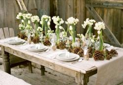 Winter wedding reception table decoration ideas pictures with white flowers.JPG
