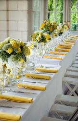 Summer wedding reception table decoration ideas photos with full of yellow flowers.JPG