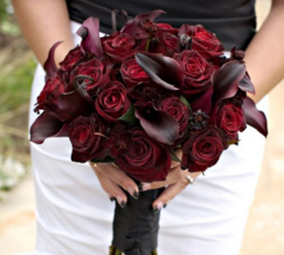 Blakish red roses and lilies perfect for chic wedding bouquet 2015 photo.JPG