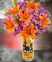 Bright colored flowers arrangement perfect for halloween party.JPG
